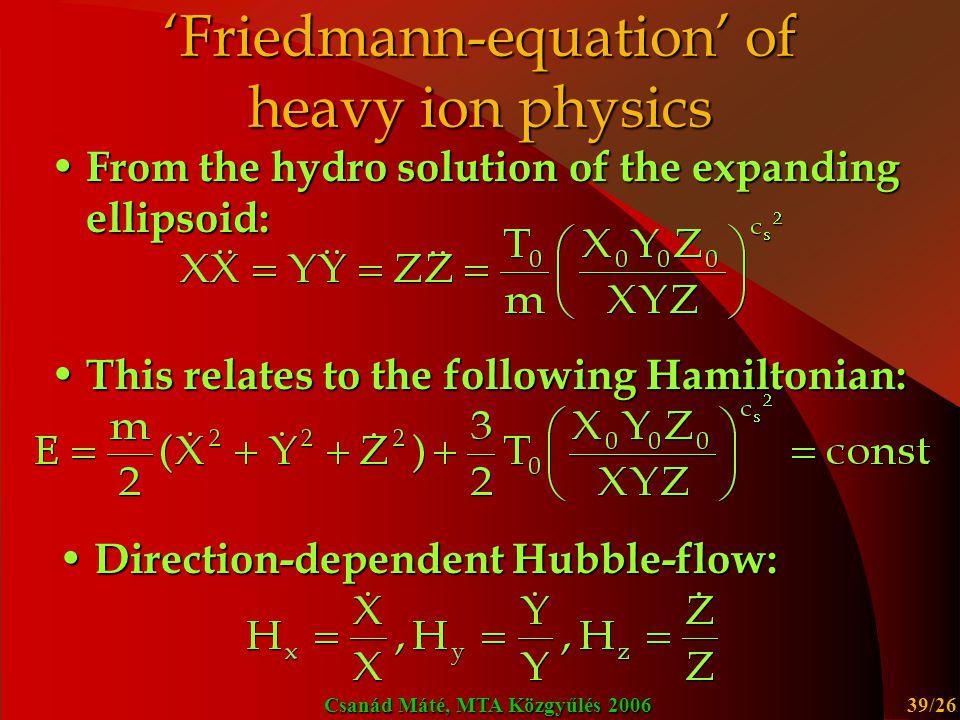 'Friedmann-equation' of heavy ion physics