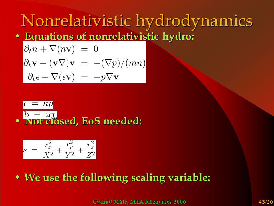 Nonrelativistic hydrodynamics