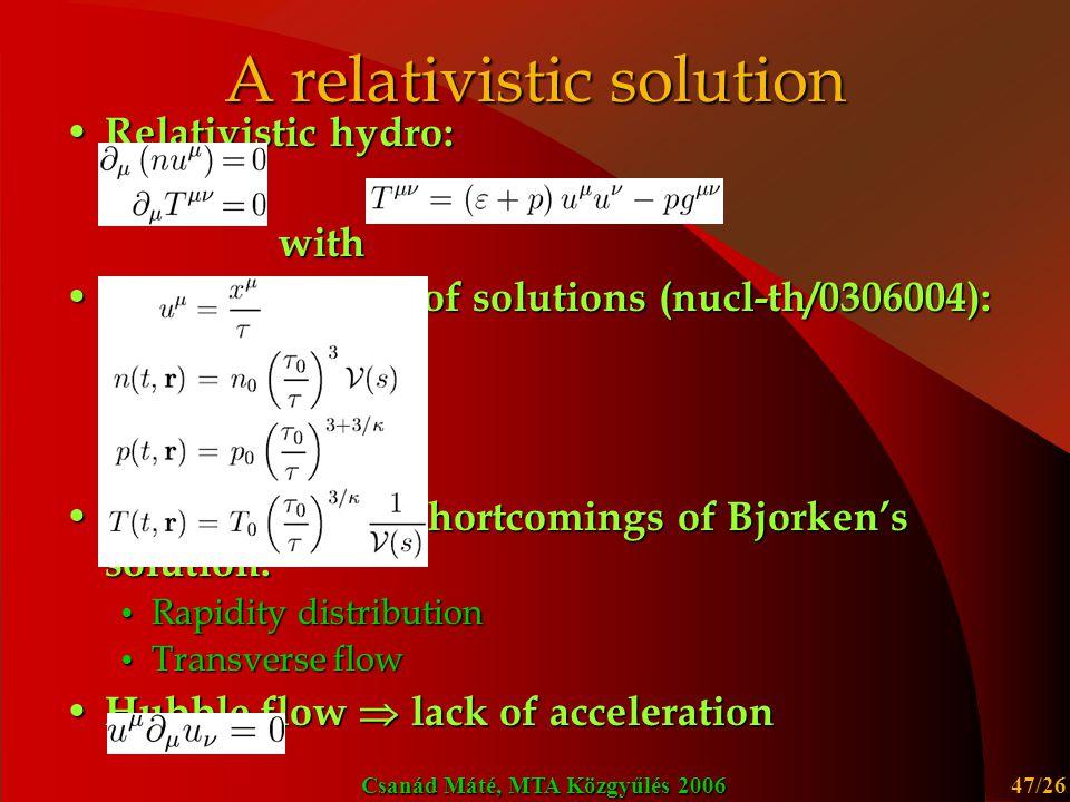 A relativistic solution