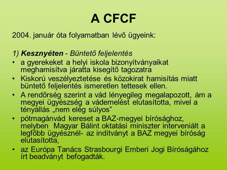 A CFCF 2004. január óta folyamatban lévő ügyeink: