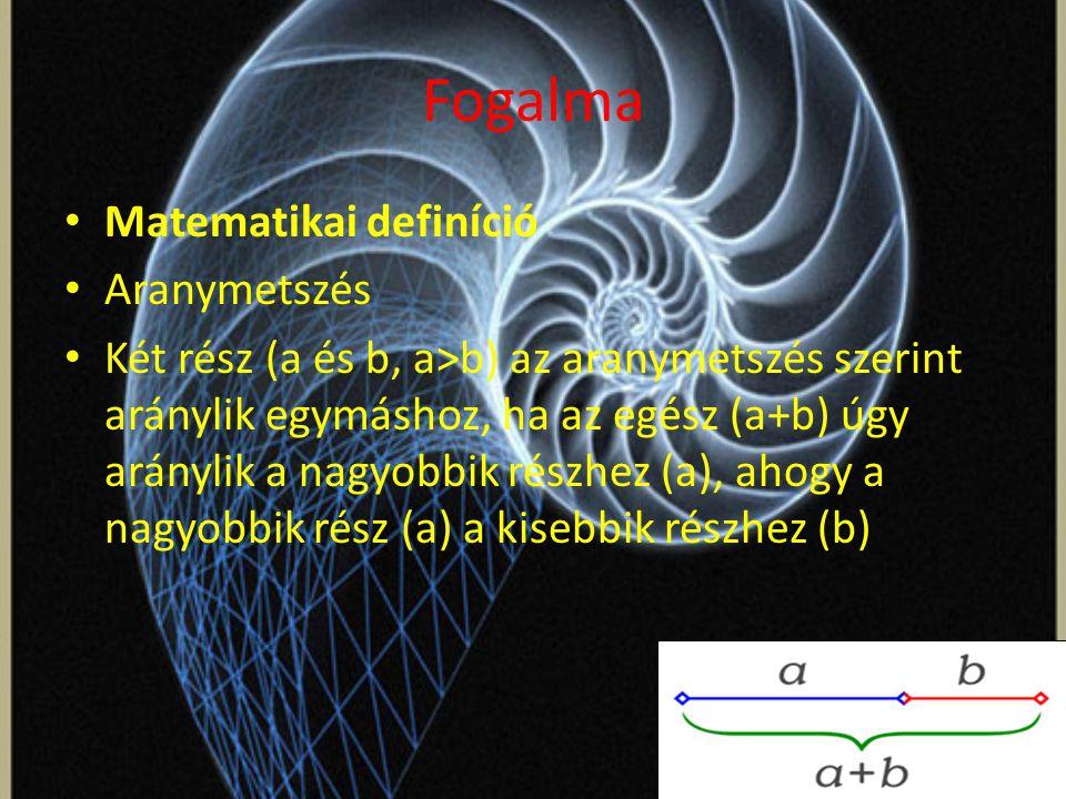 Fogalma Matematikai definíció Aranymetszés