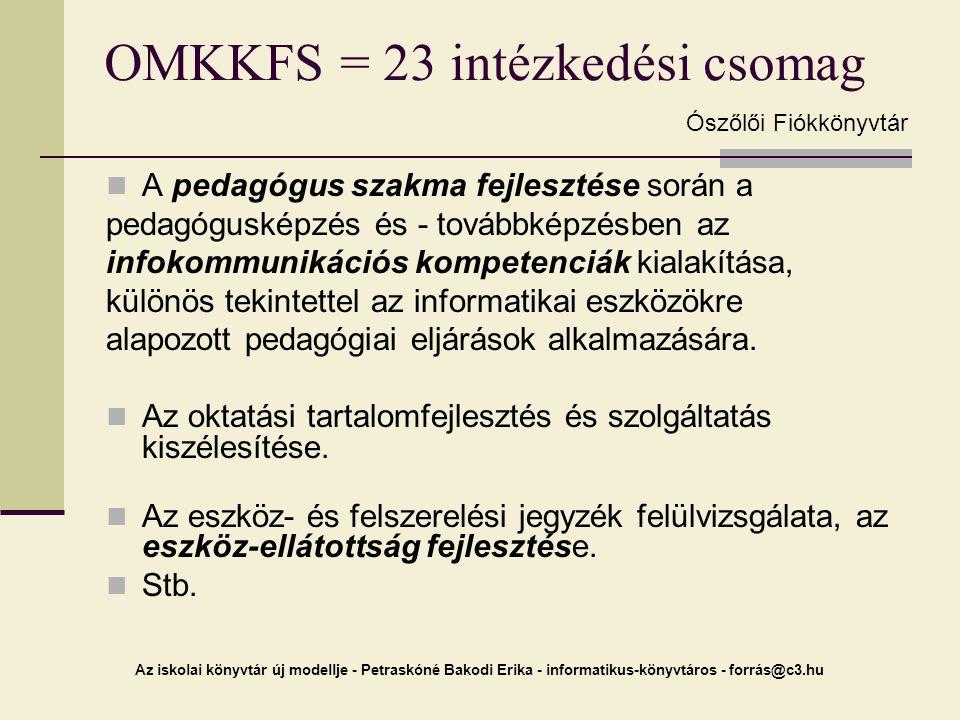 OMKKFS = 23 intézkedési csomag