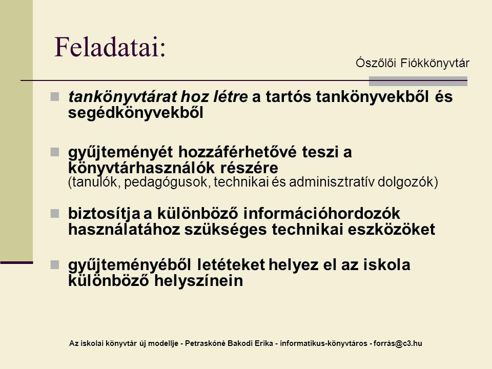 2005. 03. 10. Feladatai: Ószőlői Fiókkönyvtár. tankönyvtárat hoz létre a tartós tankönyvekből és segédkönyvekből.