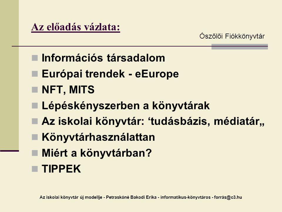 Információs társadalom Európai trendek - eEurope NFT, MITS