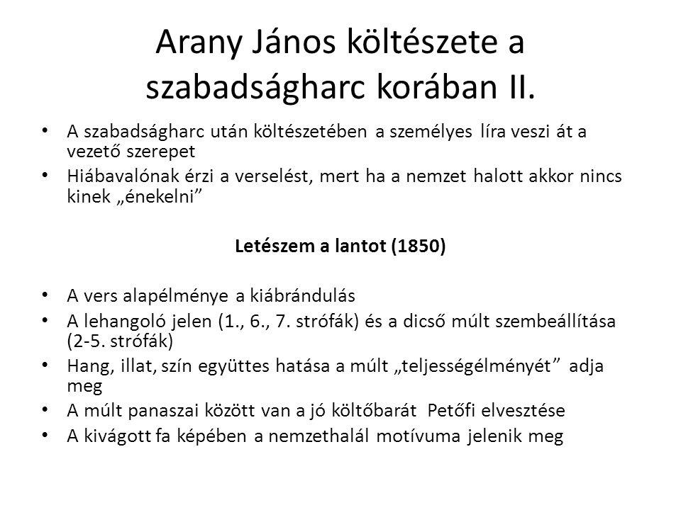 Arany János költészete a szabadságharc korában II.