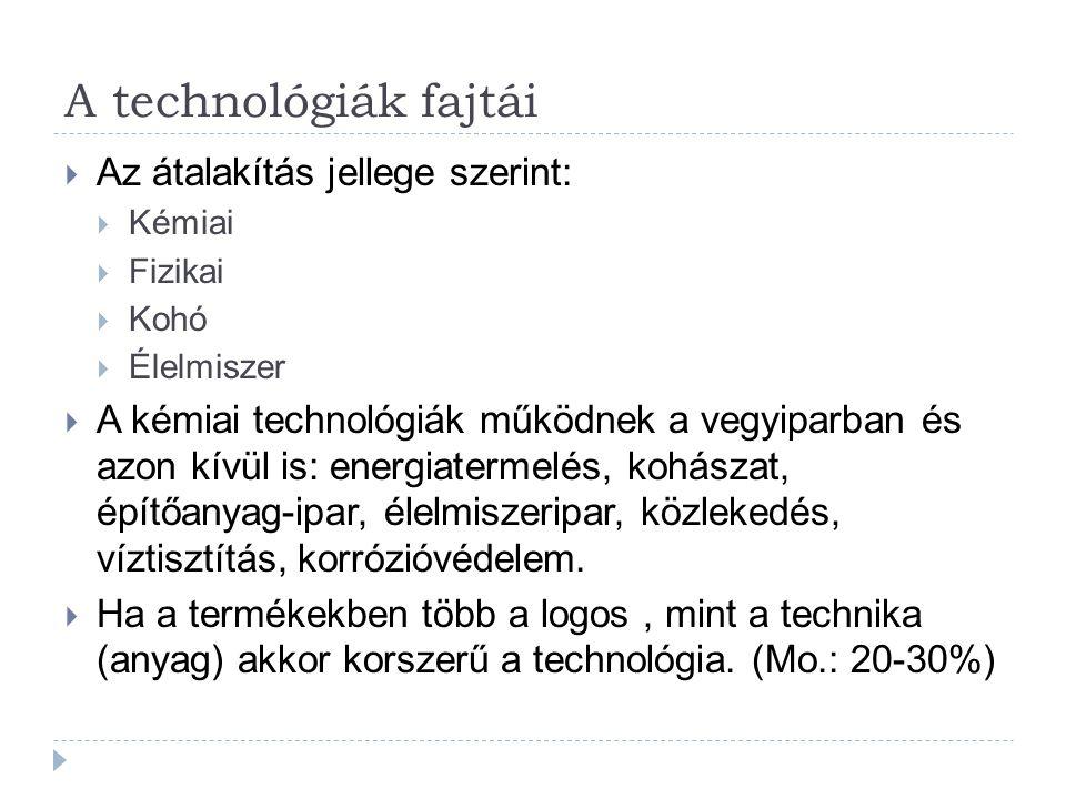 A technológiák fajtái Az átalakítás jellege szerint: