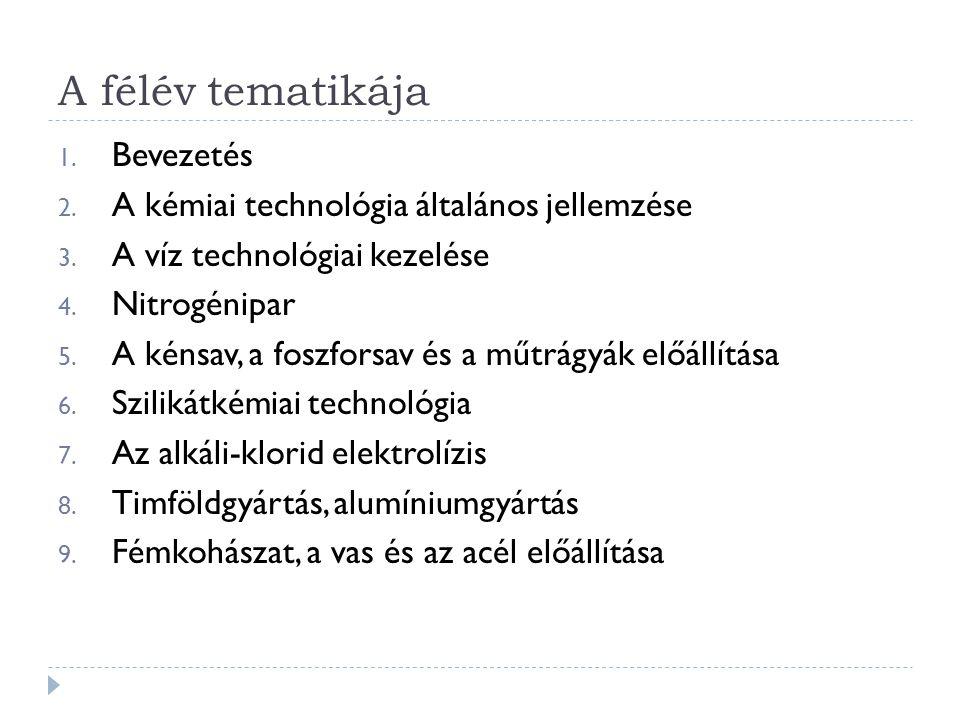 A félév tematikája Bevezetés A kémiai technológia általános jellemzése