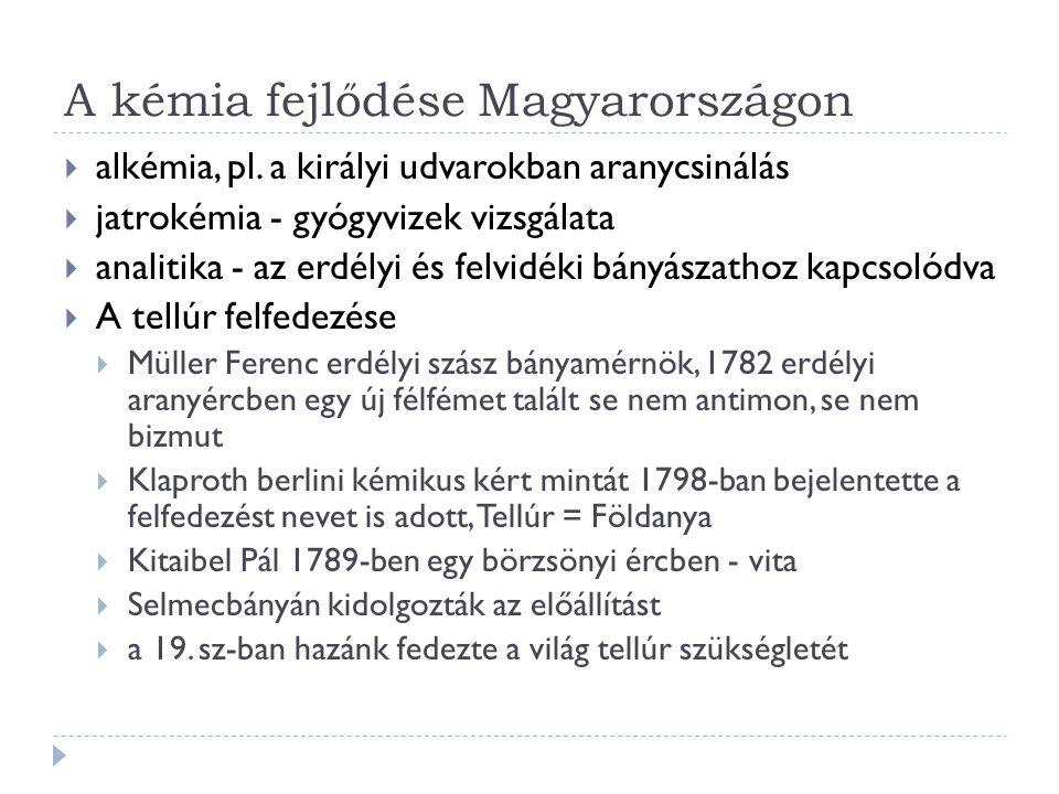 A kémia fejlődése Magyarországon