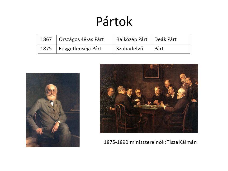 Pártok 1867 Országos 48-as Párt Balközép Párt Deák Párt 1875