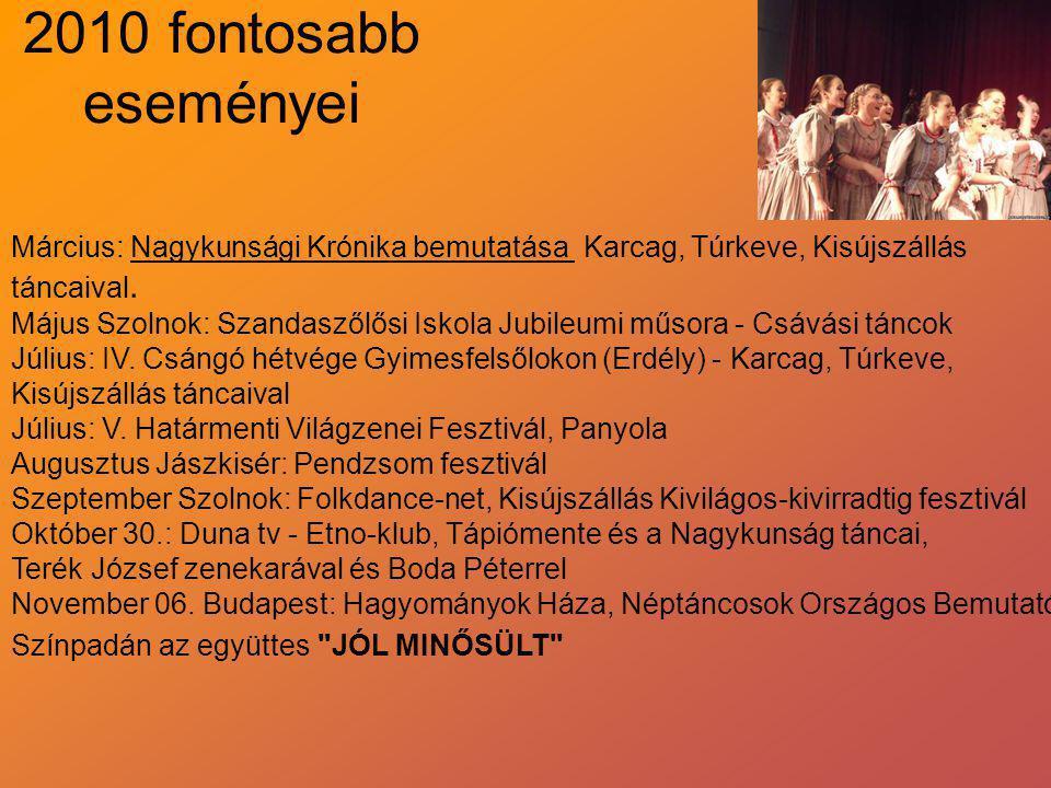 2010 fontosabb eseményei Március: Nagykunsági Krónika bemutatása Karcag, Túrkeve, Kisújszállás. táncaival.