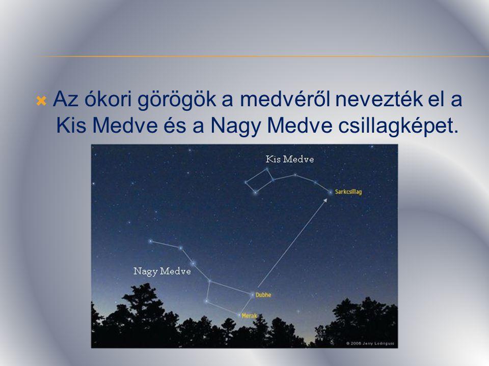 Az ókori görögök a medvéről nevezték el a Kis Medve és a Nagy Medve csillagképet.