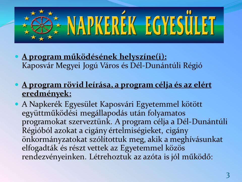 A program működésének helyszíne(i): Kaposvár Megyei Jogú Város és Dél-Dunántúli Régió