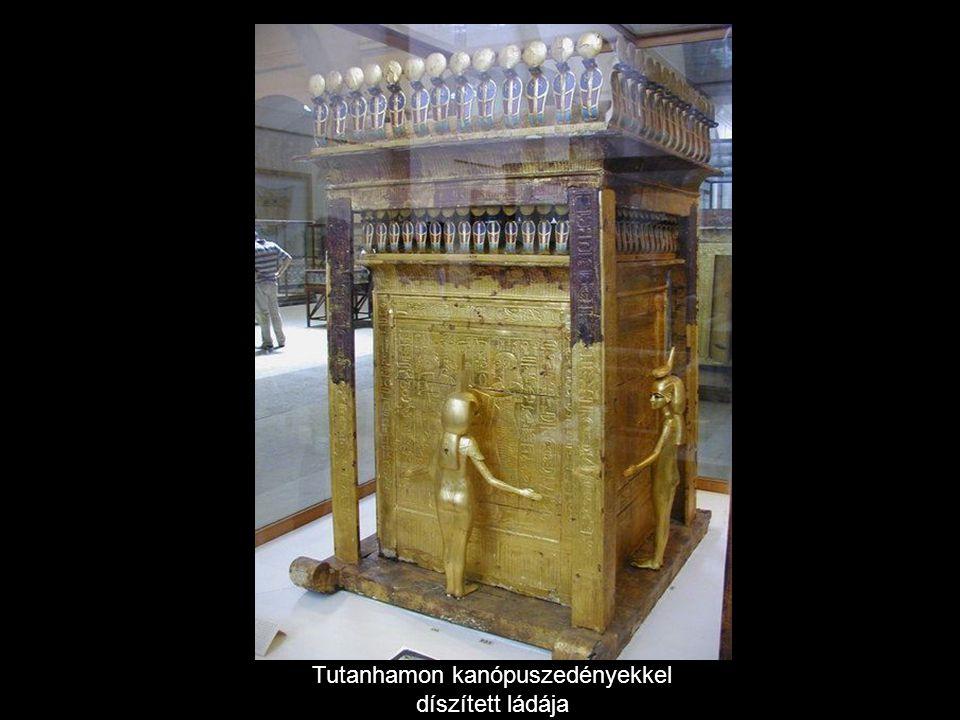 Tutanhamon kanópuszedényekkel díszített ládája
