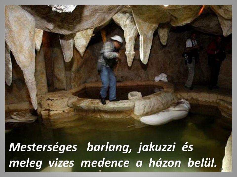Mesterséges barlang, jakuzzi és meleg vizes medence a házon belül.
