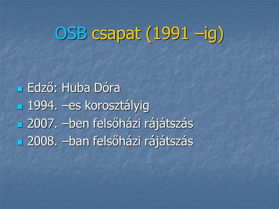 OSB csapat (1991 –ig) Edző: Huba Dóra 1994. –es korosztályig