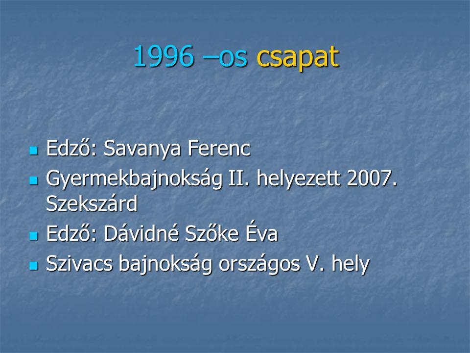 1996 –os csapat Edző: Savanya Ferenc