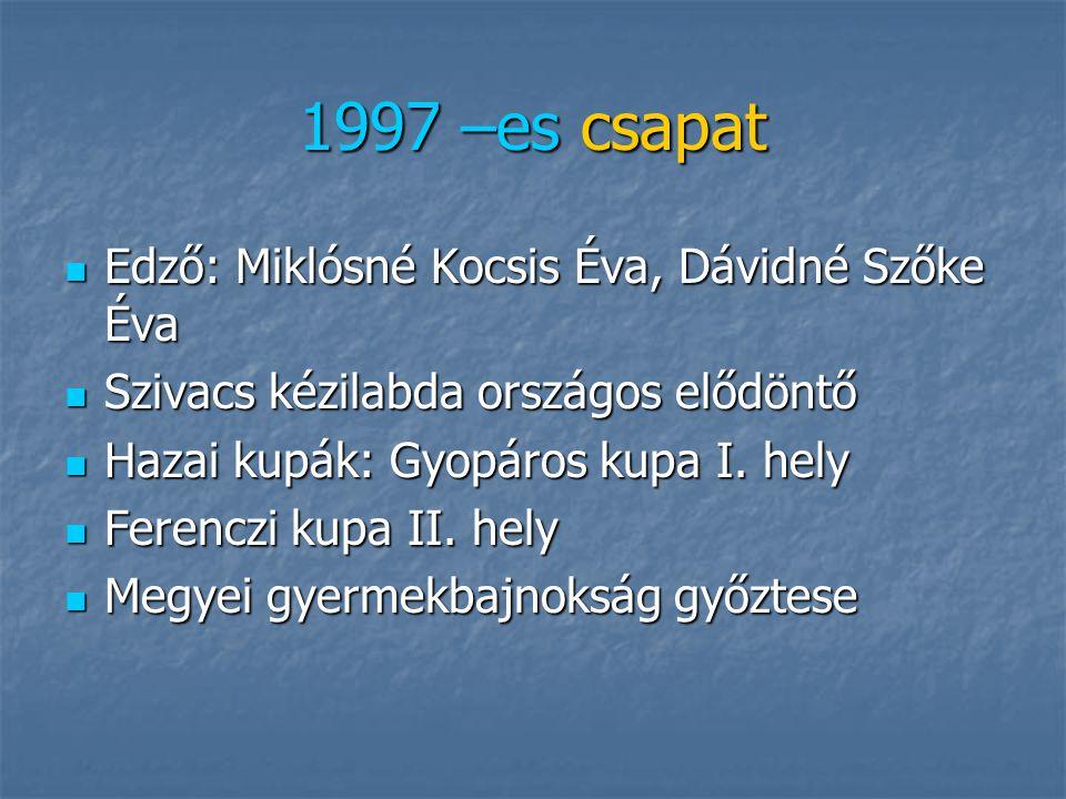 1997 –es csapat Edző: Miklósné Kocsis Éva, Dávidné Szőke Éva