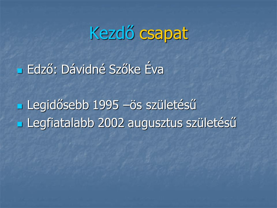 Kezdő csapat Edző: Dávidné Szőke Éva Legidősebb 1995 –ös születésű
