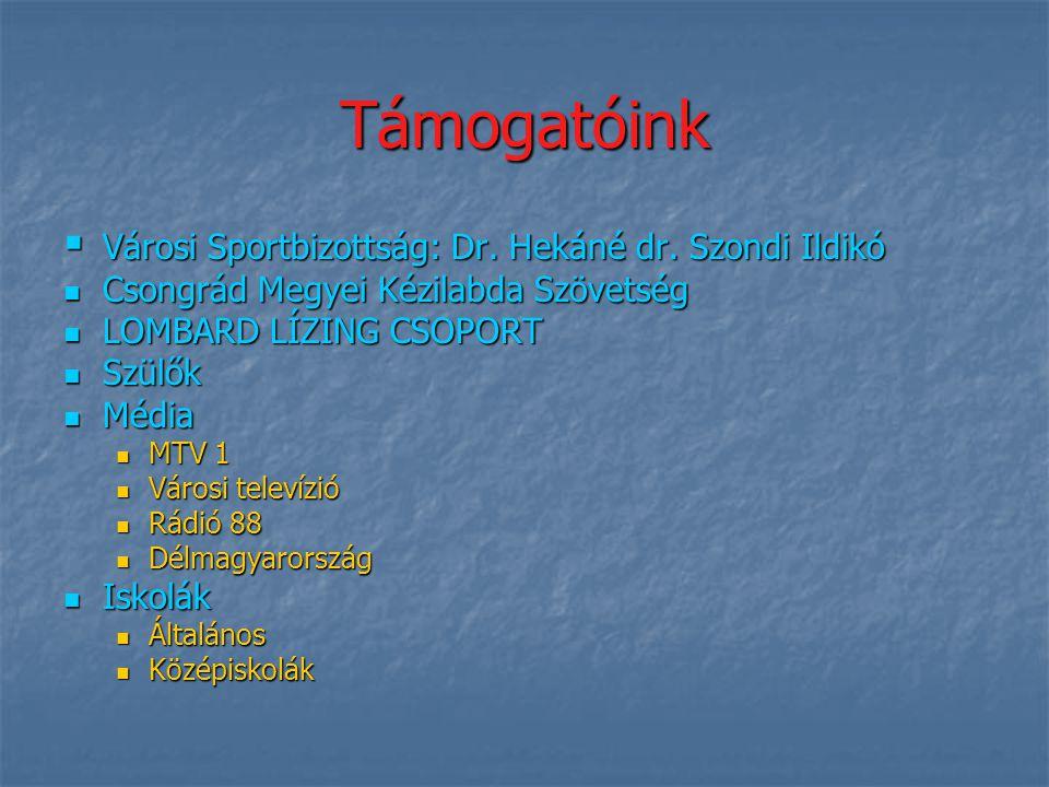 Támogatóink Városi Sportbizottság: Dr. Hekáné dr. Szondi Ildikó