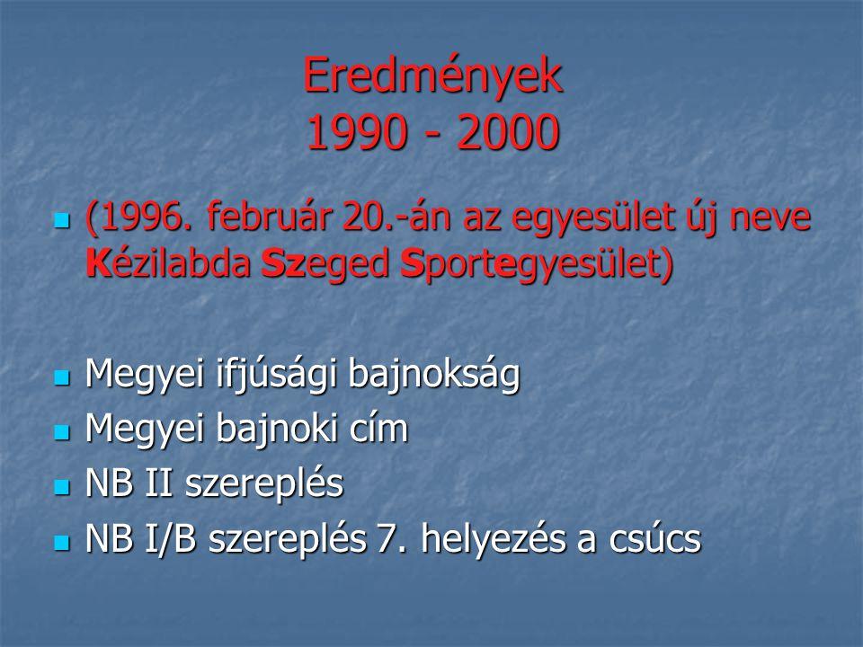 Eredmények 1990 - 2000 (1996. február 20.-án az egyesület új neve Kézilabda Szeged Sportegyesület)