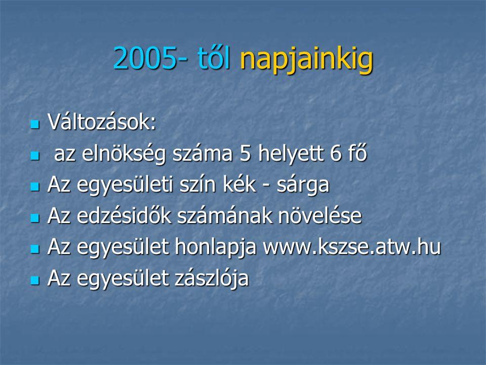 2005- től napjainkig Változások: az elnökség száma 5 helyett 6 fő