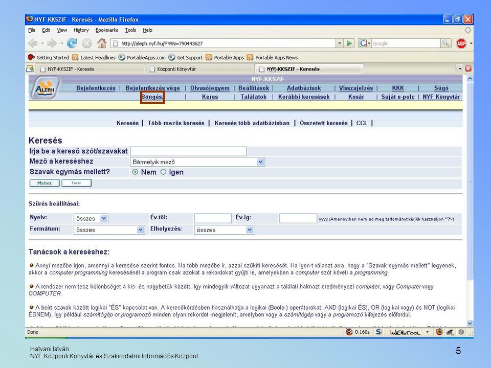 Böngészés Hatvani István NYF Központi Könyvtár és Szakirodalmi Információs Központ