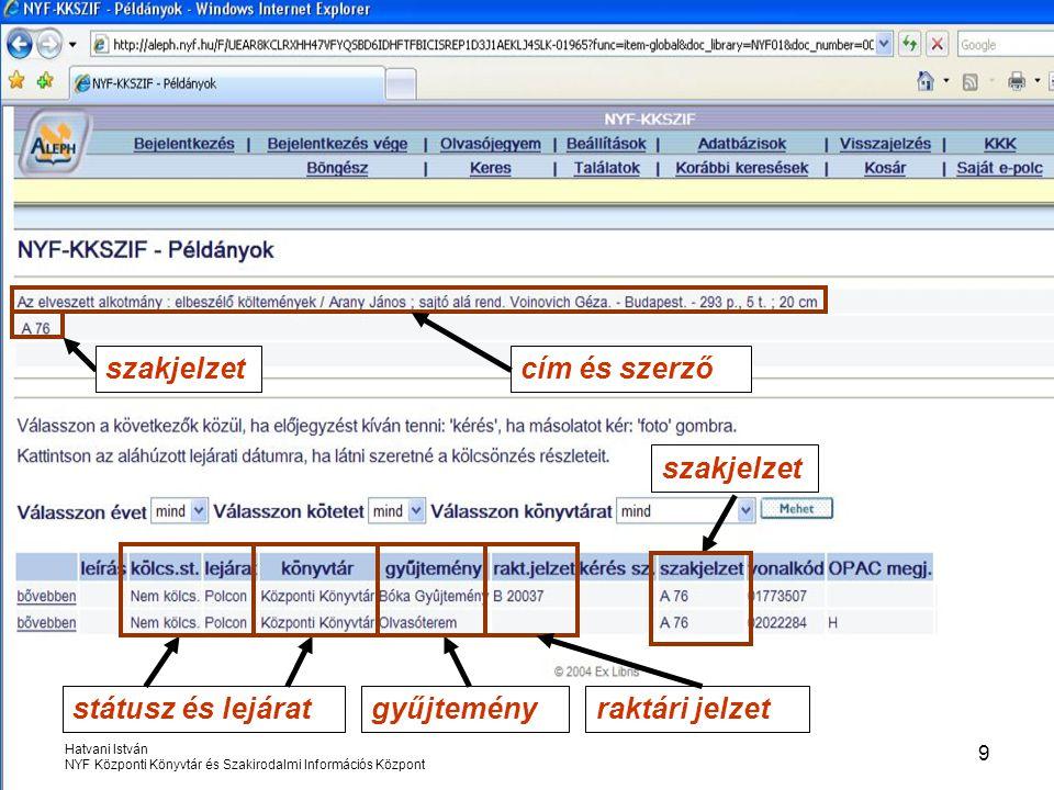 szakjelzet cím és szerző szakjelzet státusz és lejárat gyűjtemény