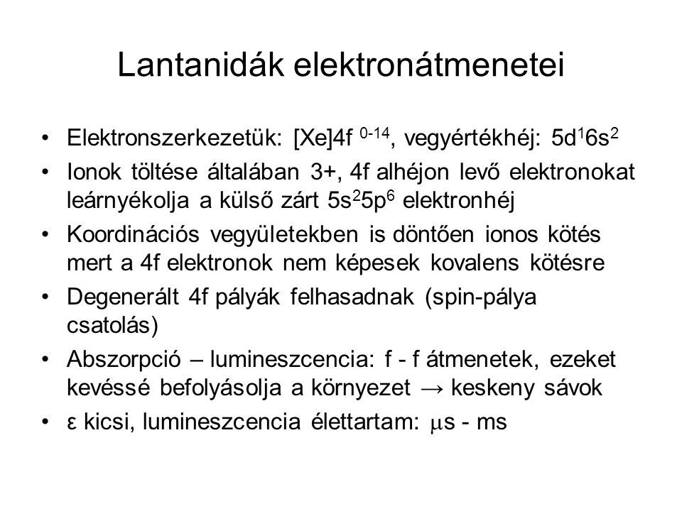 Lantanidák elektronátmenetei