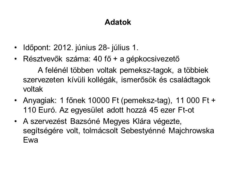 Adatok Időpont: 2012. június 28- július 1. Résztvevők száma: 40 fő + a gépkocsivezető.