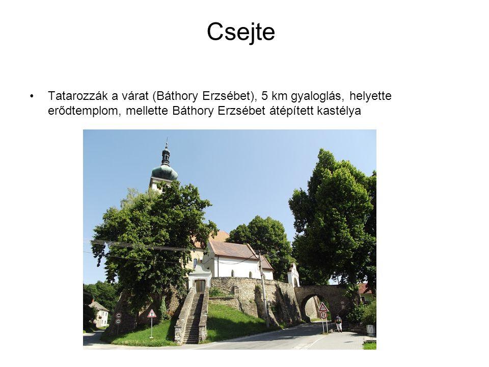 Csejte Tatarozzák a várat (Báthory Erzsébet), 5 km gyaloglás, helyette erődtemplom, mellette Báthory Erzsébet átépített kastélya.