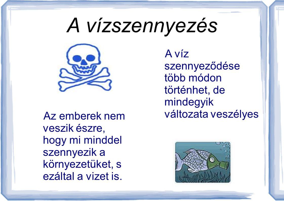 A vízszennyezés A víz szennyeződése több módon történhet, de mindegyik változata veszélyes.