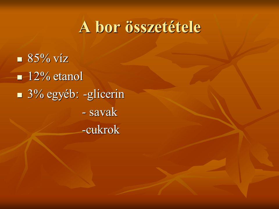 A bor összetétele 85% víz 12% etanol 3% egyéb: -glicerin - savak