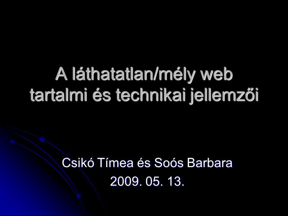 A láthatatlan/mély web tartalmi és technikai jellemzői