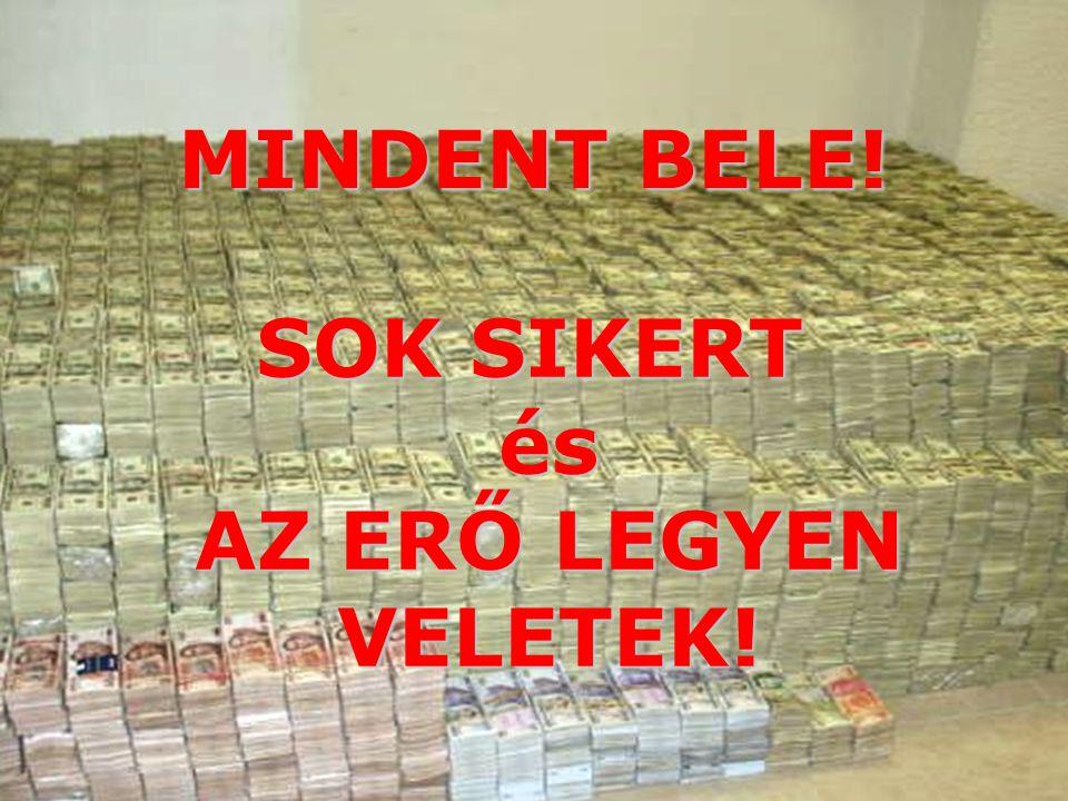 SOK SIKERT és AZ ERŐ LEGYEN VELETEK!