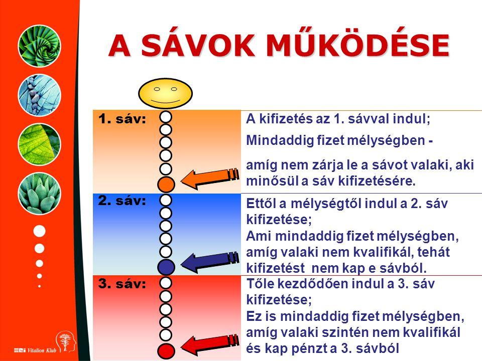 A SÁVOK MŰKÖDÉSE 1. sáv: A kifizetés az 1. sávval indul;
