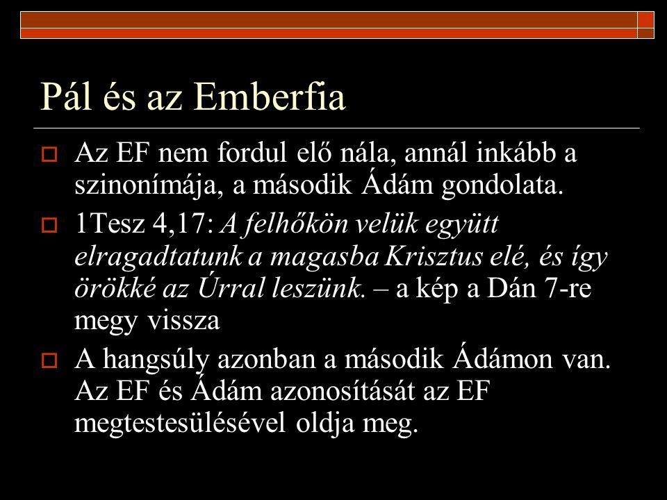 Pál és az Emberfia Az EF nem fordul elő nála, annál inkább a szinonímája, a második Ádám gondolata.