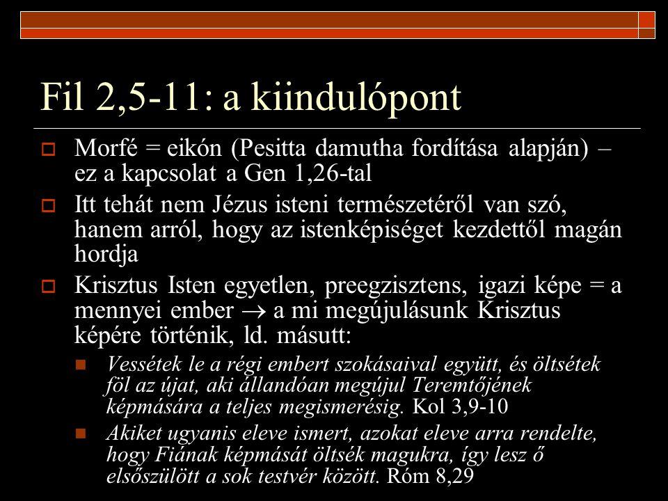 Fil 2,5-11: a kiindulópont Morfé = eikón (Pesitta damutha fordítása alapján) – ez a kapcsolat a Gen 1,26-tal.