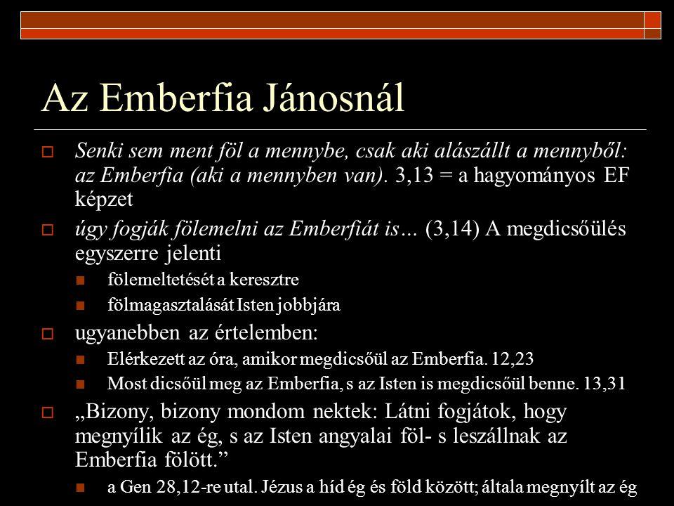 Az Emberfia Jánosnál Senki sem ment föl a mennybe, csak aki alászállt a mennyből: az Emberfia (aki a mennyben van). 3,13 = a hagyományos EF képzet.