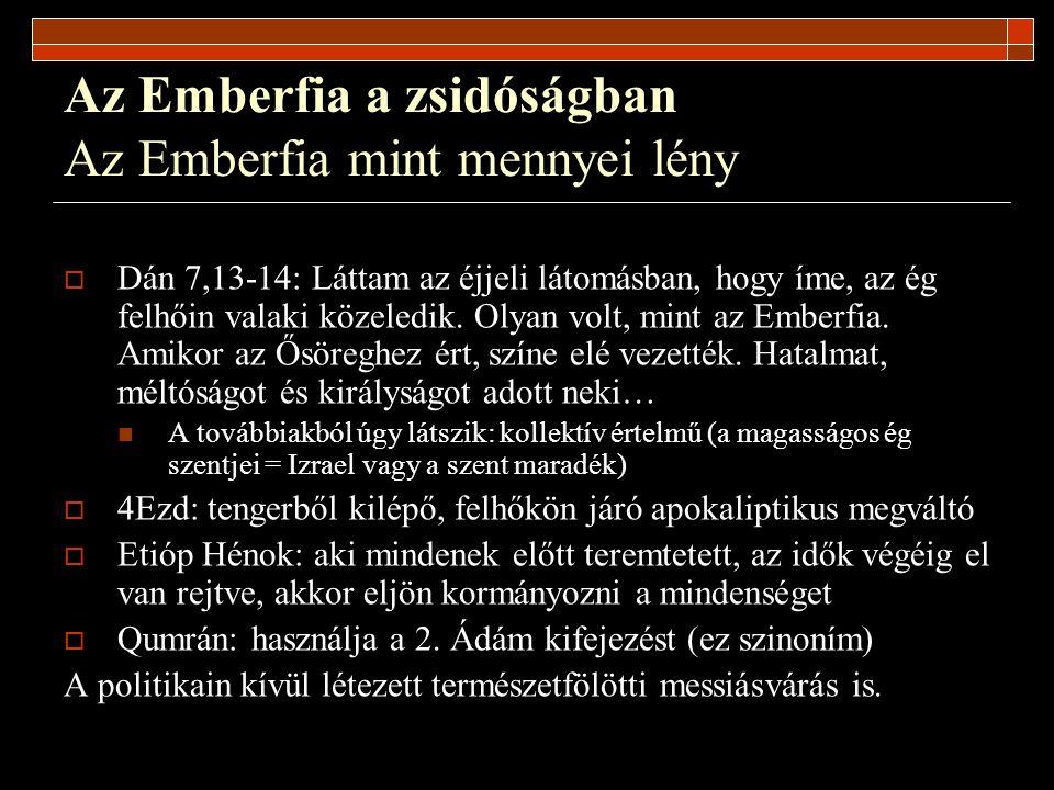 Az Emberfia a zsidóságban Az Emberfia mint mennyei lény