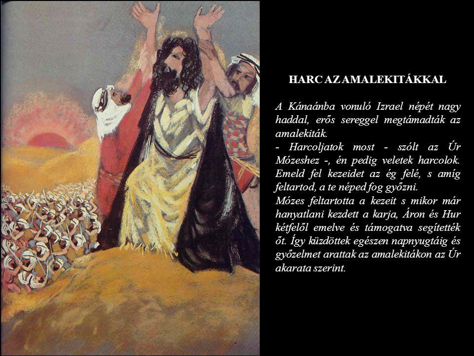 HARC AZ AMALEKITÁKKAL A Kánaánba vonuló Izrael népét nagy haddal, erős sereggel megtámadták az amalekiták.