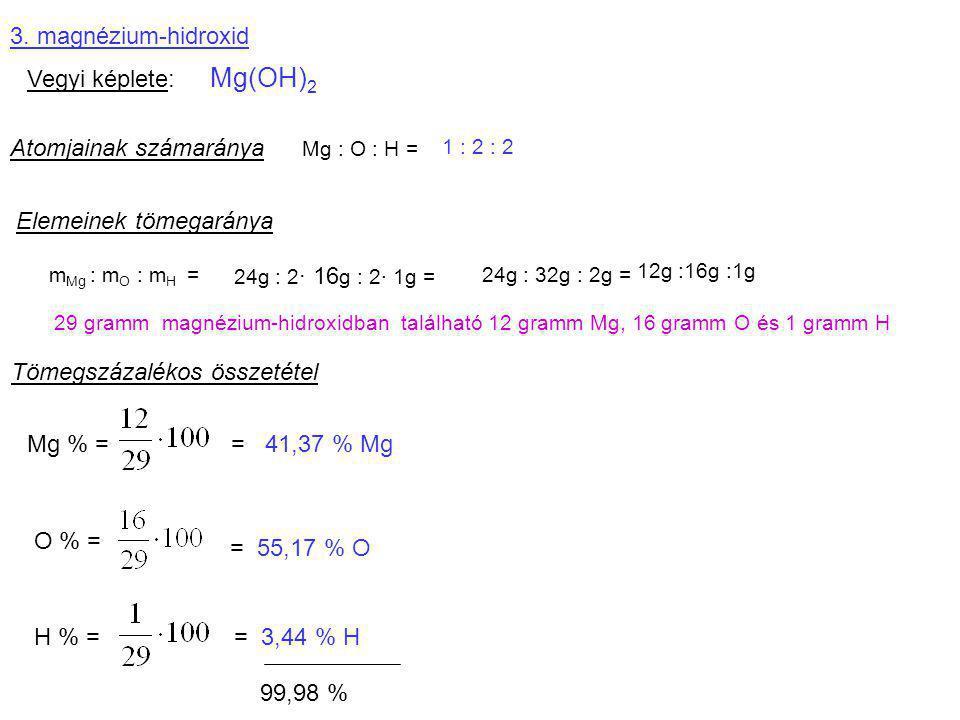 Atomjainak számaránya Mg : O : H =