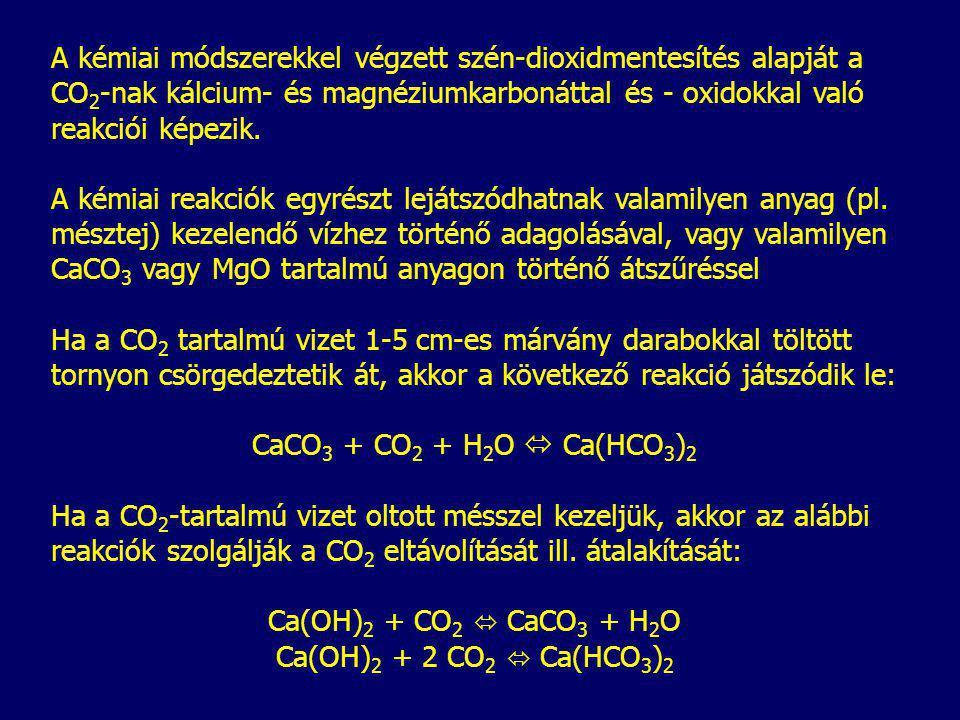A kémiai módszerekkel végzett szén-dioxidmentesítés alapját a CO2-nak kálcium- és magnéziumkarbonáttal és - oxidokkal való reakciói képezik.