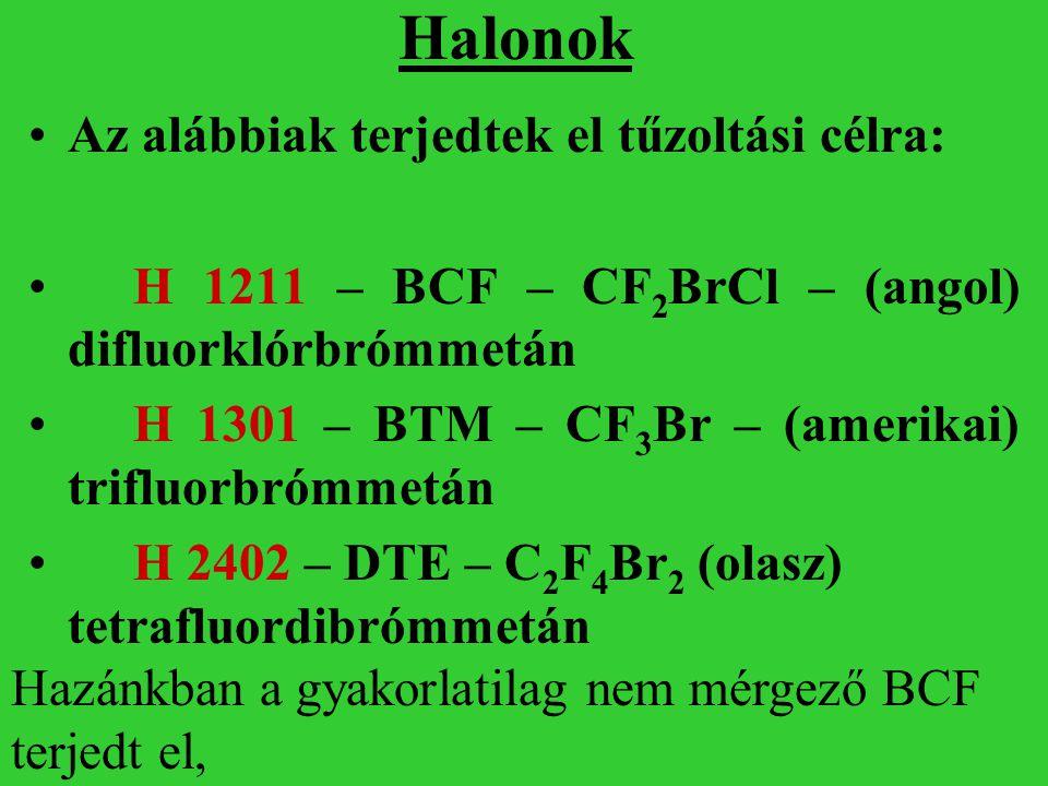 Halonok Az alábbiak terjedtek el tűzoltási célra: