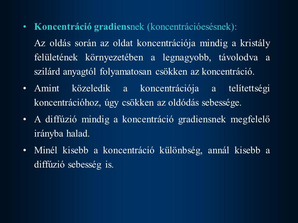 Koncentráció gradiensnek (koncentrációesésnek):
