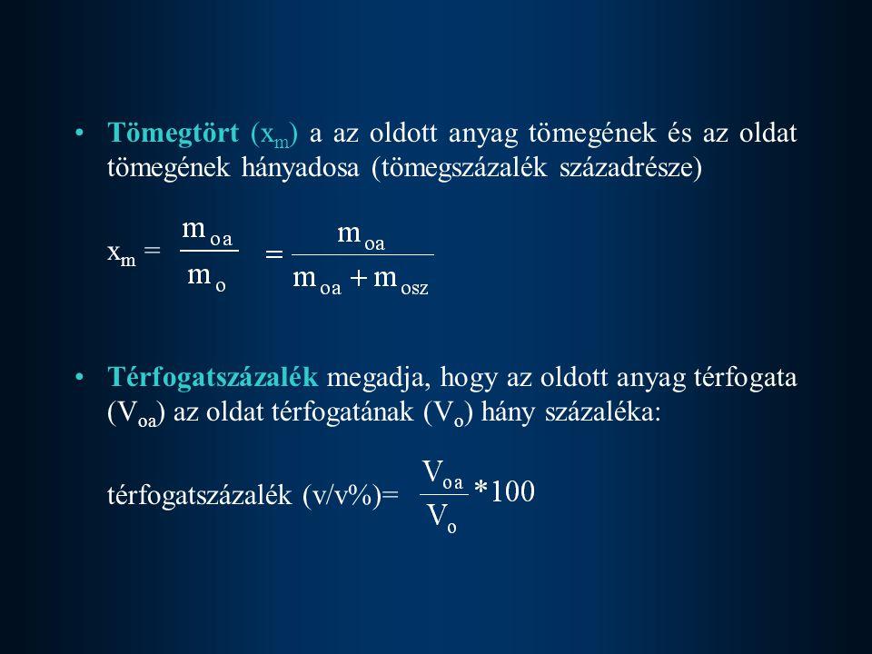 Tömegtört (xm) a az oldott anyag tömegének és az oldat tömegének hányadosa (tömegszázalék századrésze)