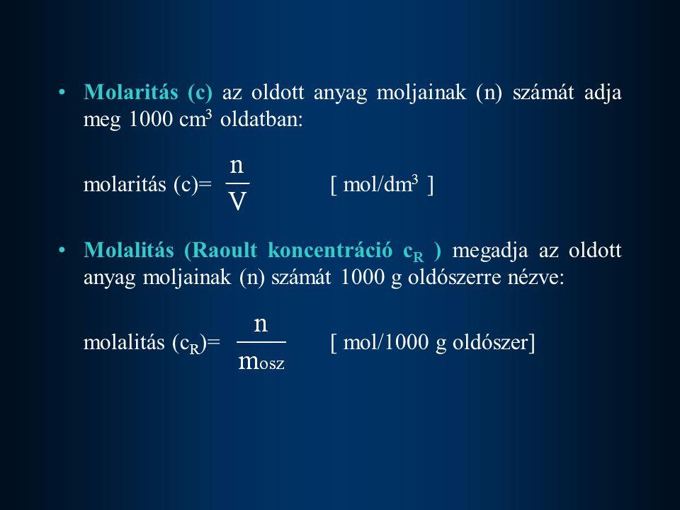 Molaritás (c) az oldott anyag moljainak (n) számát adja meg 1000 cm3 oldatban: