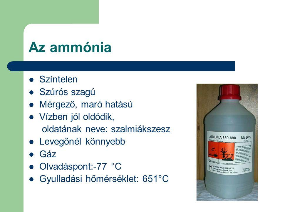 Az ammónia Színtelen Szúrós szagú Mérgező, maró hatású