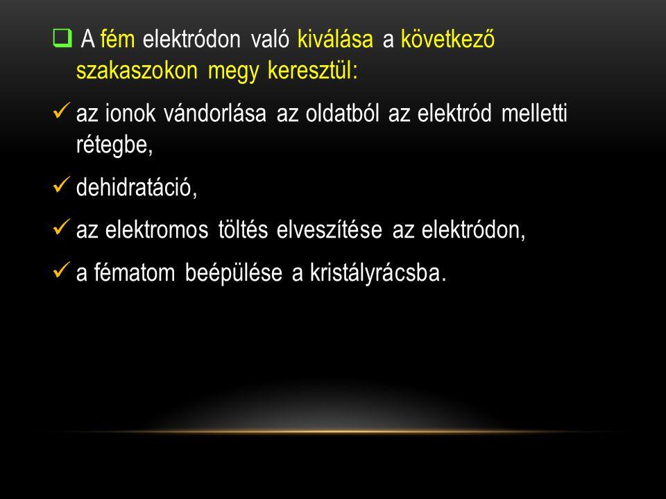 A fém elektródon való kiválása a következő szakaszokon megy keresztül: