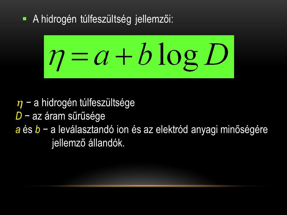 A hidrogén túlfeszültség jellemzői: