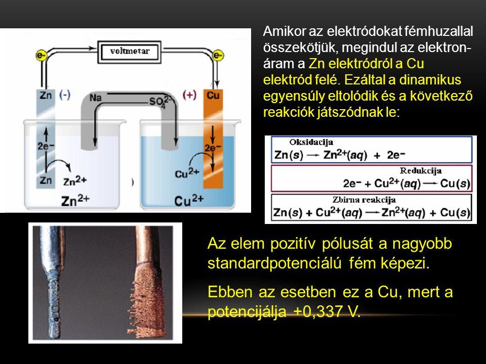 Az elem pozitív pólusát a nagyobb standardpotenciálú fém képezi.
